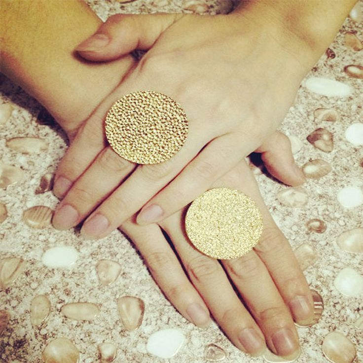New fashion jewelry metal with gold plated Round Coin finger ring gift for women girl R1413