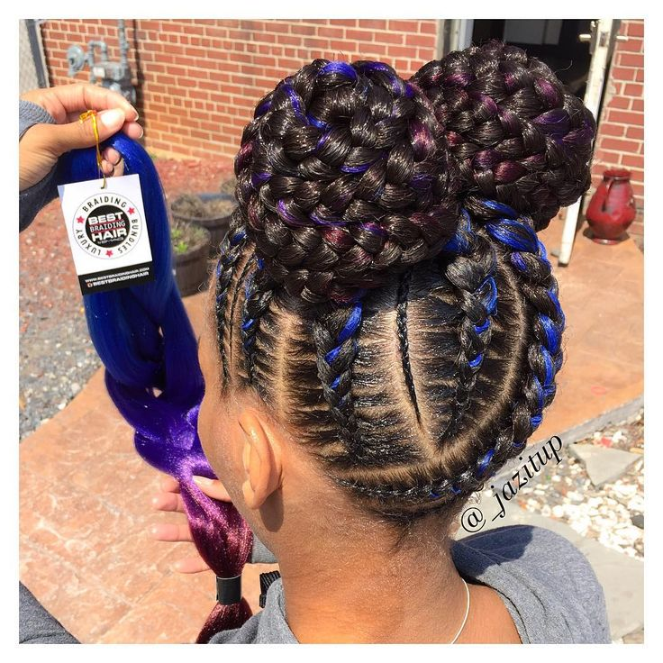"""6,257 Likes, 56 Comments - JAZMIN DAVIDSON (@_jazitup) on Instagram: """"When your client brings in some of @bestbraidinghair 8 #feedinbraids into 2 #buns #JAZITUPHAIR…"""""""