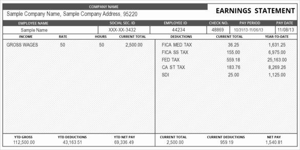 Free Check Stub Template Elegant 24 Pay Stub Templates Samples Examples Formats In 2020 Statement Template Payroll Template Good Essay