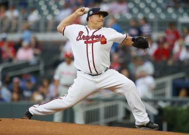 Braves place struggling Colon on DL with left side strain  -  June 6, 2017.        Atlanta Braves starting pitcher Bartolo Colon (40) delivers in the first inning of a baseball game against the Philadelphia Phillies, Monday, June 5, 2017, in Atlanta. (AP Photo/Todd Kirkland)