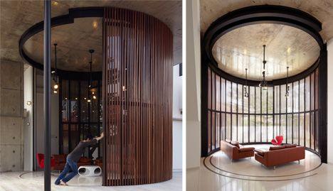 open and closed living room voila house Voila! Huge Sliding Glass Door Reveals Open-Air Living Room