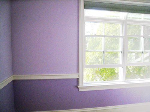 keep the current purple in Rachel's room for Junebug, but add lighter shade on top and use chair rail between? Would save on paint cost/time
