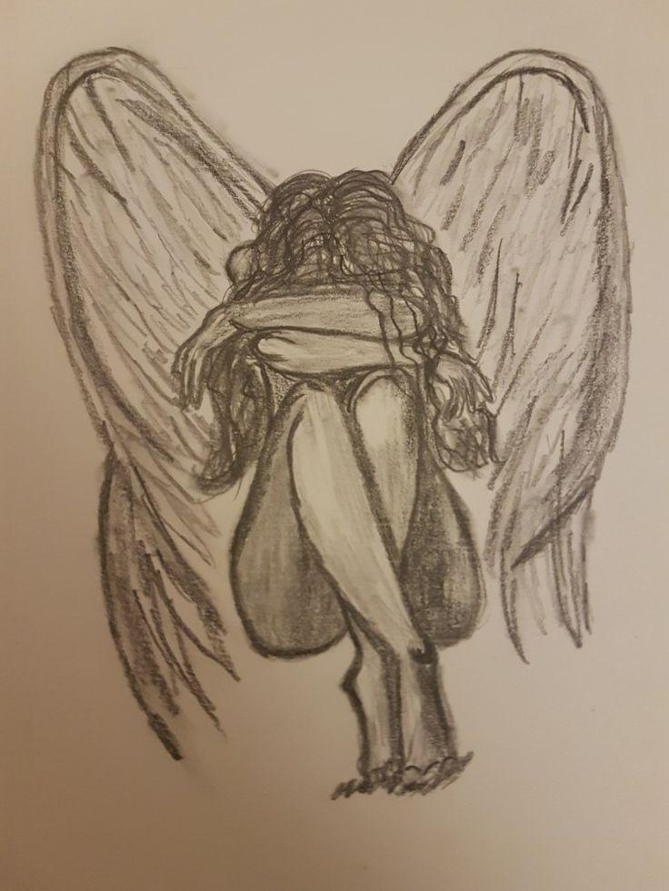 грустный ангел картинки карандашом стих день