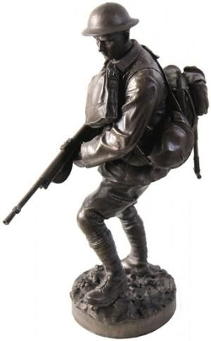 "Limited Edition 12 Inch Statue Marine Devil Dog WWIThe Khaki Army Marine Devil Dog Statue represents a World War I Marine Chauchat gunner in action, late 1918. He wears the AEF M1917 khaki drab uniform typically worn without collar insignia. His primary weapon is the French Chauchat (CSRG) machine gun. His backpack is lightly loaded for the assault and he carries extra 20 round magazines for the Chauchat in a French-made haversack. The term ""Devil Dog"" has its origins at Belleau Wood where a…"