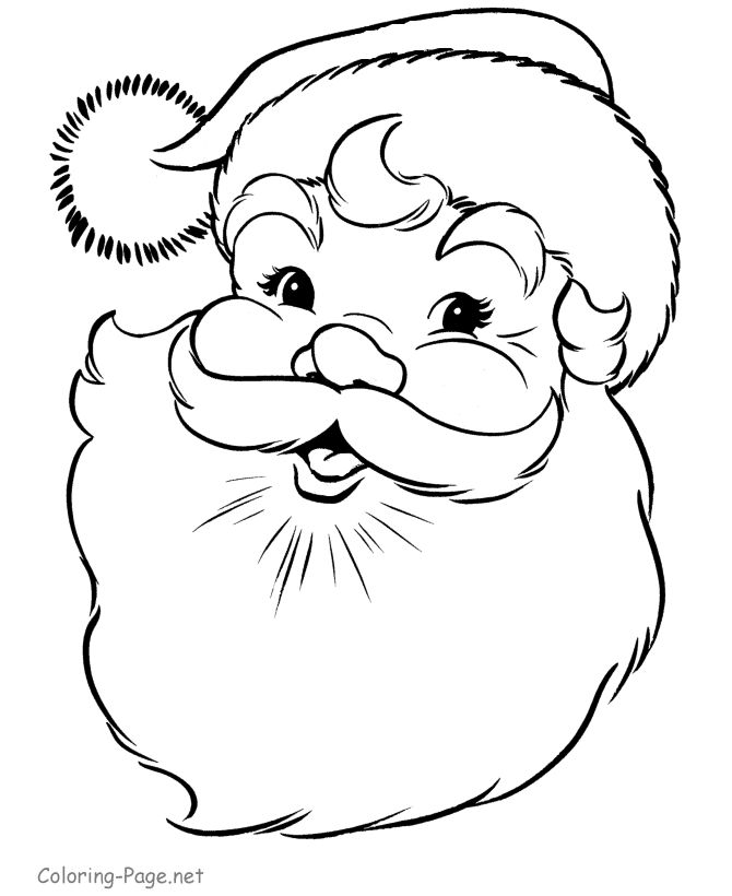 Christmas coloring book page - Santa Face