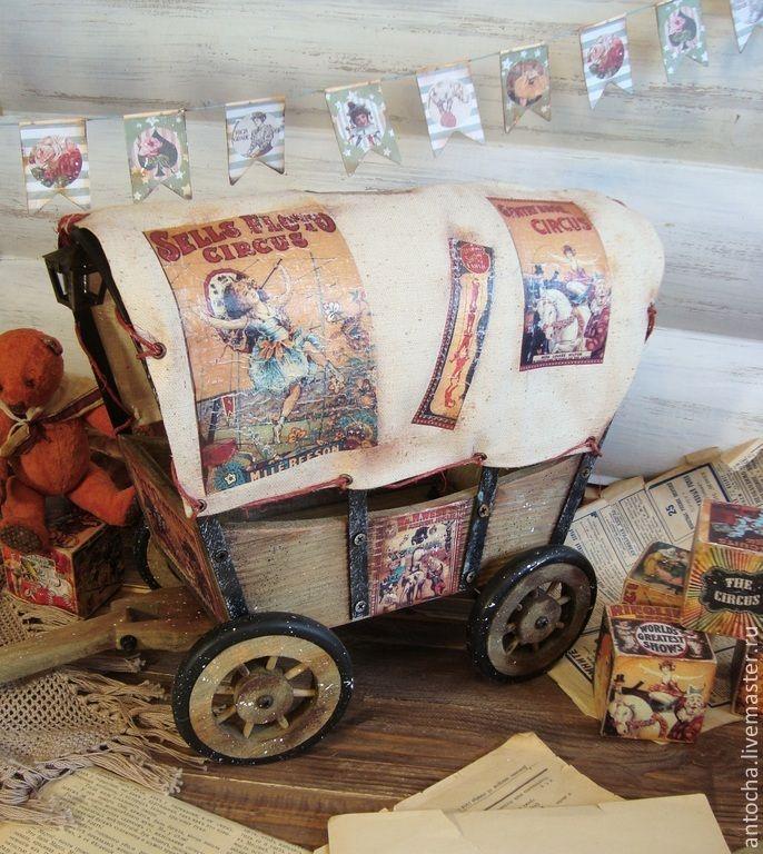"""Купить Тележка """"Цирк приехал"""" - цирк, тележка, ретро, игрушки, винтаж, детская, коллеция, дерево"""