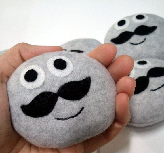 Pet Rock with a mustache by magicyam on Etsy