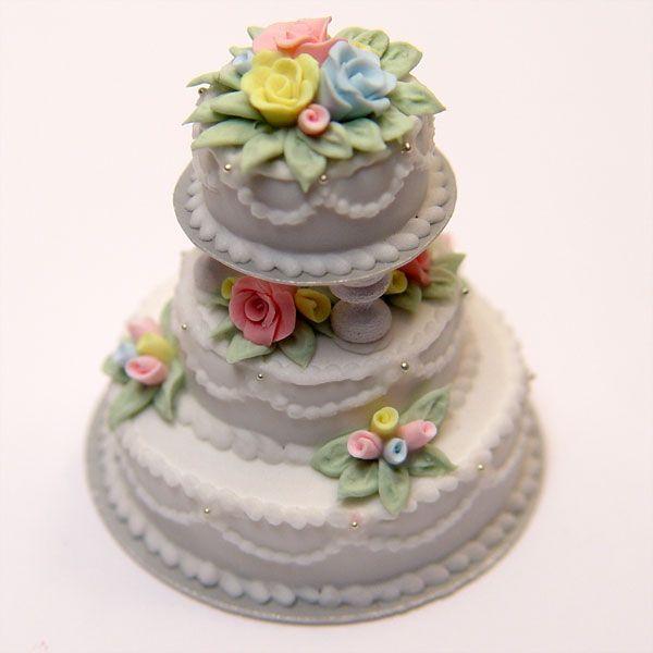 Minature 3 Tier Pastel Wedding Cake | Stewart Dollhouse Creations