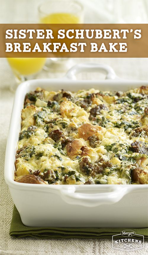 Breakfast Bake: Making breakfast for a crowd? This delicious casserole with eggs, cheese, onion, spinach, sausage and Sister Schubert's Whole Wheat Yeast Dinner Rolls is perfect to make the night before and bake the next morning!
