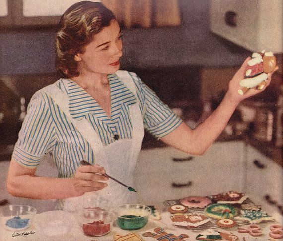 Vintage Christmas ad General Mills 1948 Just a Housewife baking cookies