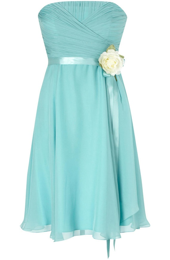 Chiffon baby teal bridesmaid dress party dress sweetheart knee length gown with sash flower