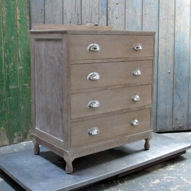 A limed-oak drawer chest