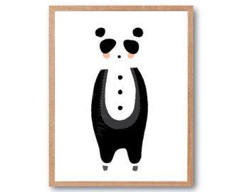 Impresión impresión del arte del bebé Panda, Panda Print, impresión de vivero, vivero forestal, Animal de bosque, bosque de bebé ducha, regalo a los niños