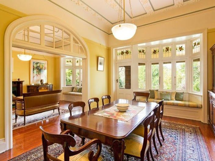 Single pendant lighting and large archways were often found in Federation Style homes.