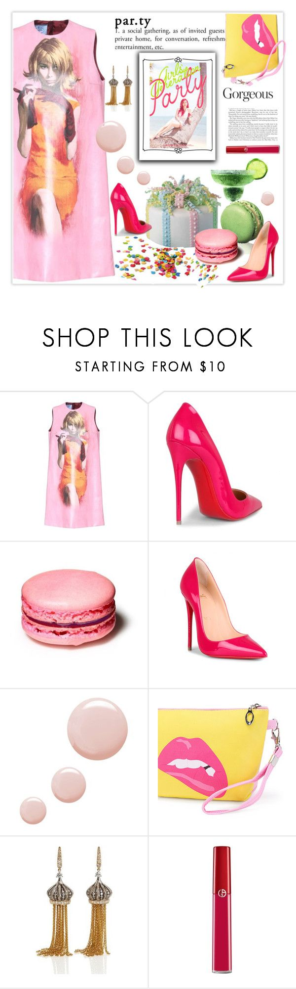 """Party"" by zemnaya ❤ liked on Polyvore featuring Prada, Christian Louboutin, Topshop, Annoushka, Armani Beauty, contest and party"