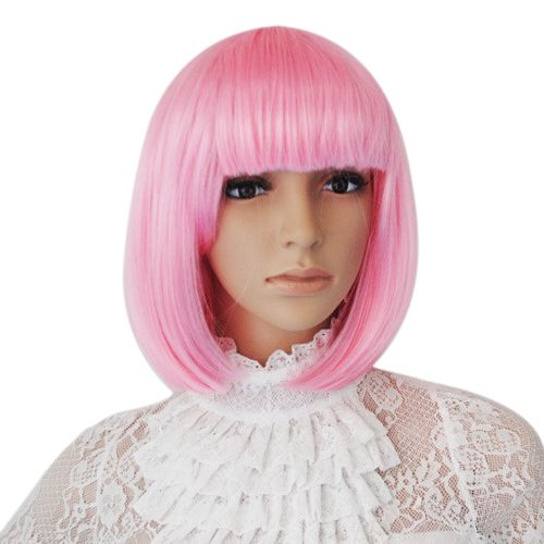 Cute Bobo Style Capless High Quality Synthetic Party Pink Short Hair Wig