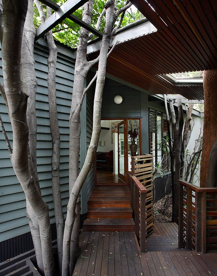 St Lucia House 2: Covered deck entry. See more at http://blighgraham.com.au/projects/st-lucia