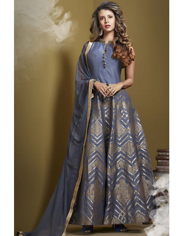 4ae16db5fd Smoke Grey Chanderi Silk Readymade Anarkali Suit | Women clothing |  Anarkali suits, Salwar suits party wear, Salwar suits