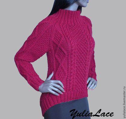 Свитер вязаный с асимметричным низом. - бордовый,свитер,свитер вязаный