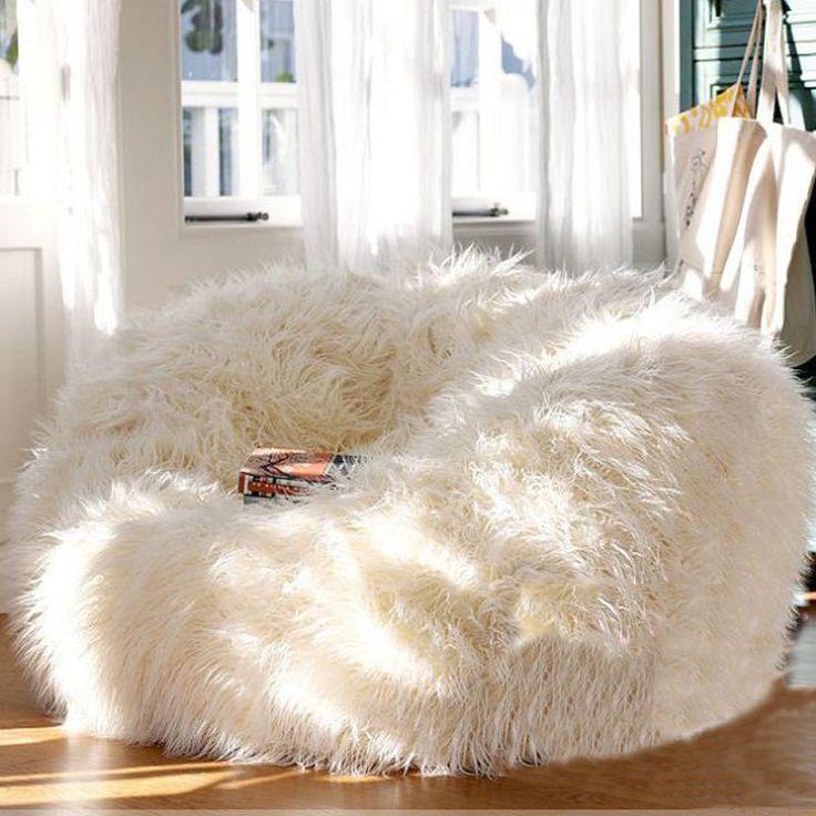 500L EXTRA LARGE Faux Fur Bean Bag Fluffy Shaggy Plush Beanbag Sofa Chair Decor | Home & Garden, Furniture, Bean Bags & Inflatables | eBay!