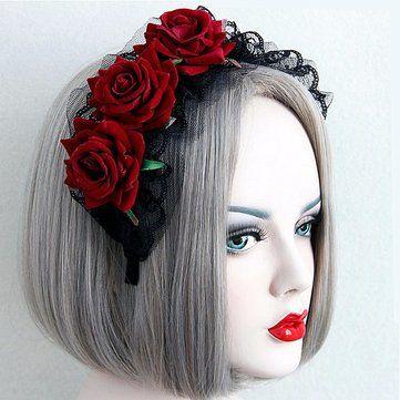 Women Ladies Handmade Lace Black Red Rose Flower Cosplay Headband Hair Band at Banggood