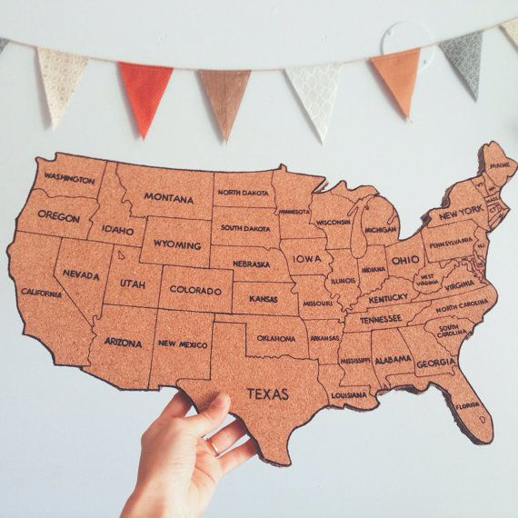 Usa Corkboard Map 1 Sally Can Track Her Travels And See What States