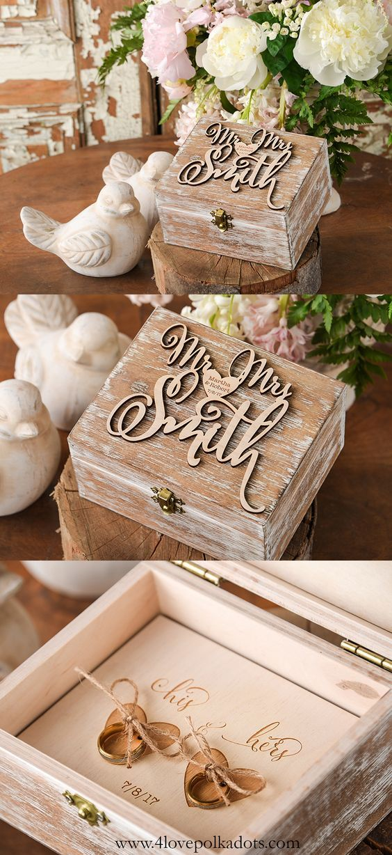 Mr & Mrs Rustic Woode Ring Bearer Box  ||  @4LOVEPolkaDots olkadots