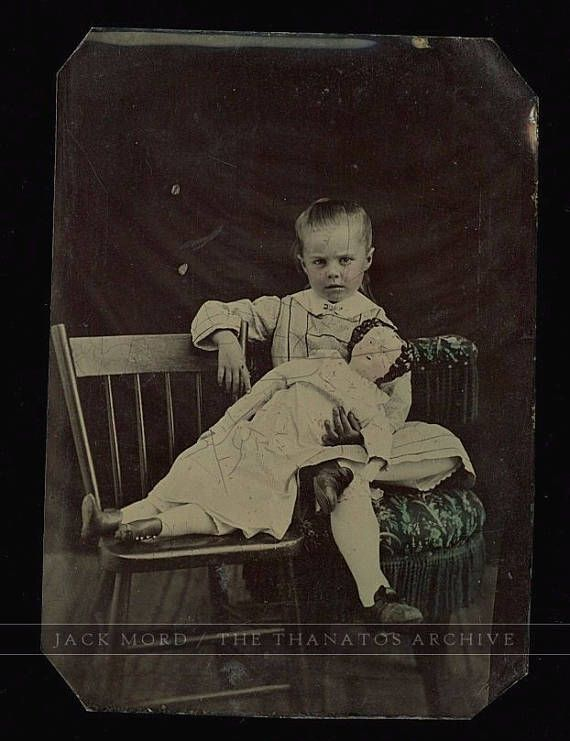 1860s / 70s Tintype Photo Little Girl Posing w Unusual Large China Head Doll