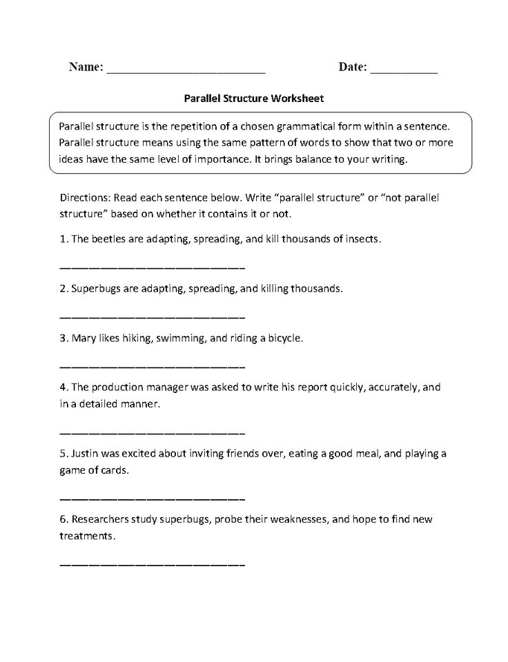Parallel Sentence Structure Worksheet – Parallel Structure Worksheet