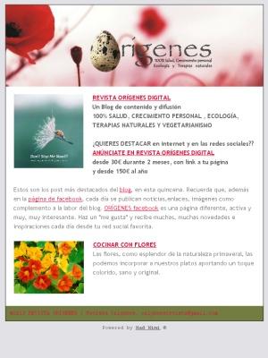 El Newsletter quincenal del blog de ORÍGENES, sus post más destacados. ¡NO TE LO PIERDAS!!!  Check out this Mad Mimi newsletter