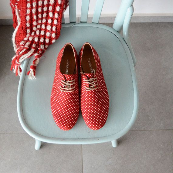 Red Leather shoes-women Oxford flat Shoes Red and by BackToCool