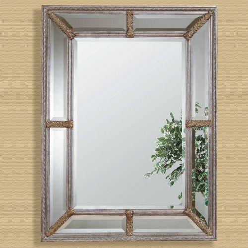 Silver Leaf Double Framed Decorative Mirror - 38W x 49H in.