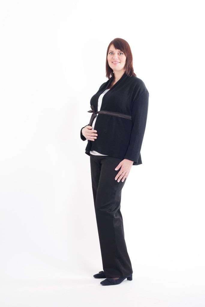 Maternity black straight legs trousers and black wrap-effect cardigan