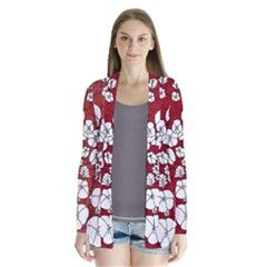 Cvdr0098 Red White Black Flowers Drape Collar Cardigan from CircusValley Mall