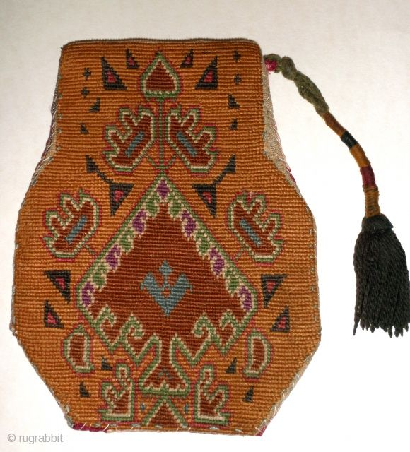 "Shakhrysabs embroidered purse, possibly 19th ct. These ""Coin Purses"" were made by Uzbek women of all ranks, for personal use or to be sold for extra income. This little purse measures 4 1/2"" x 5 3/4"""