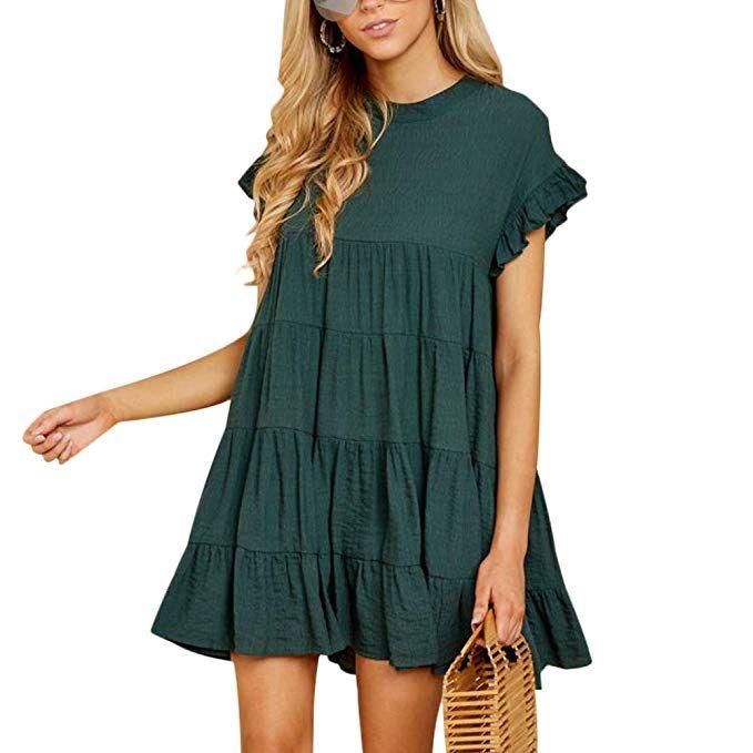 4cc7415fd3 Joteisy Women's O Neck Ruffle Sleeve Tiered Casual Mini Dress (S ...