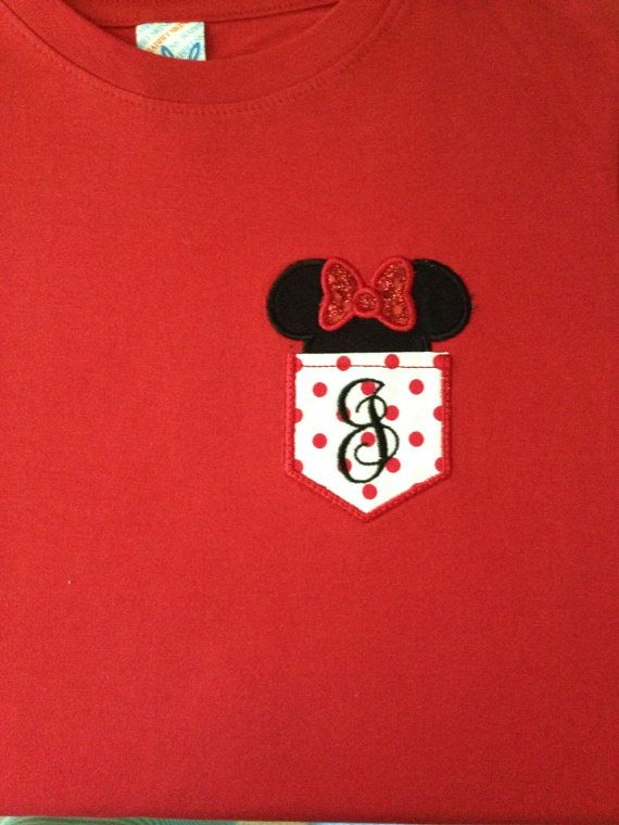 Monogram & Mouse Ears Faux Pocket TShirt by SewSweetBelles on Etsy, $22.00