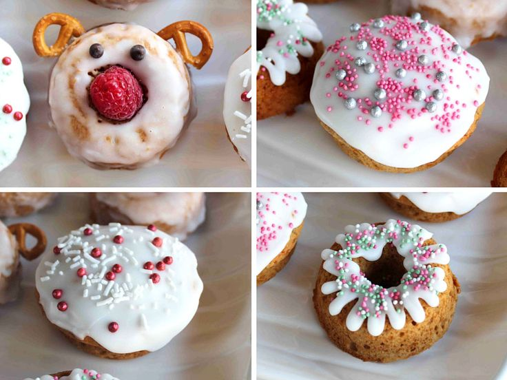Jazz up this easy doughnut recipe with some Christmas fun. Gluten free, wheat free, dairy free, nut free, soy free, can be egg free!
