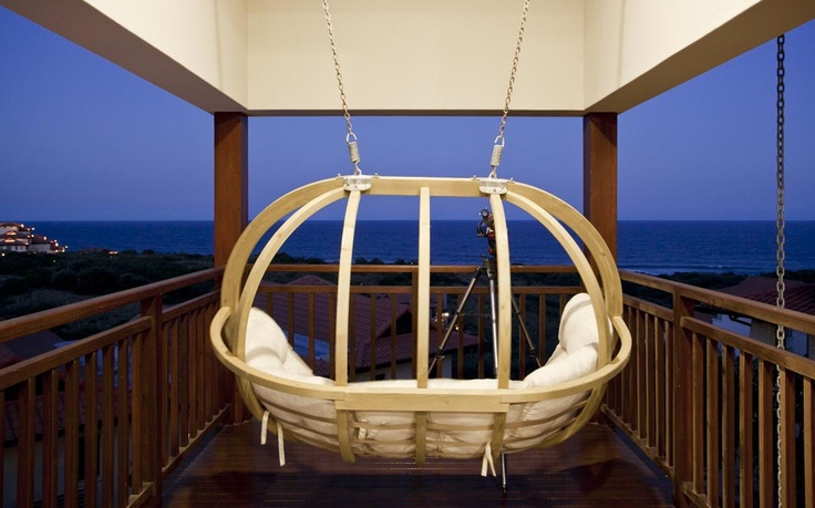 Hanging swing seat, wooden swinging feature seat