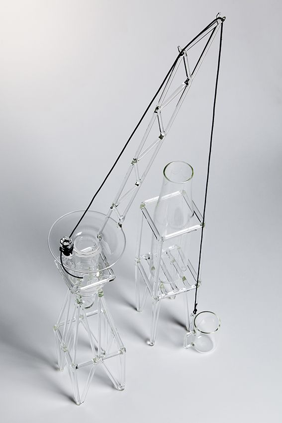 MAR GH'ERA designed by Formafantasma (Special guest) - When not in use and resting on a shelf, the bottle and the cup withdraw into their fantasy world, becoming part of the imaginary dockyard of a city yet to be built. #drawingglass #fabricadesignstudio #fabrica #design #glass #formafantasma #massimolunardon