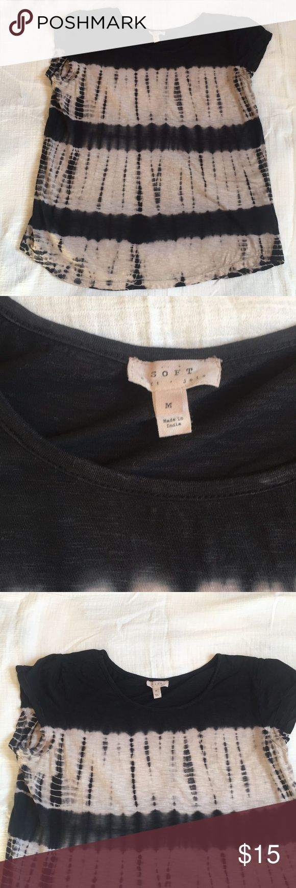 Soft Joie Tie-dye top Used maybe twice. Soft Joie tie-dye top in good condition. Short sleeves and the colors are black and cream. Price reflects a tiny hole that camouflages with print and honestly goes unnoticed. See last picture Soft Joie Tops