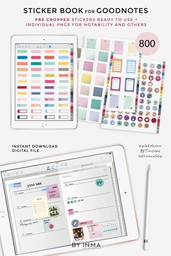 Digital Stickers Goodnotes Ipad Planner Sticker Book With 800 Pre Cropped Stickers Png Digital Planning Or Digital Bullet Journal Digital Sticker Sticker Book Planner