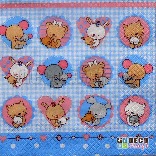 Servetele pentru copii : Servetele - Pui de animale (bleu) - 33x33cm, 4 buc