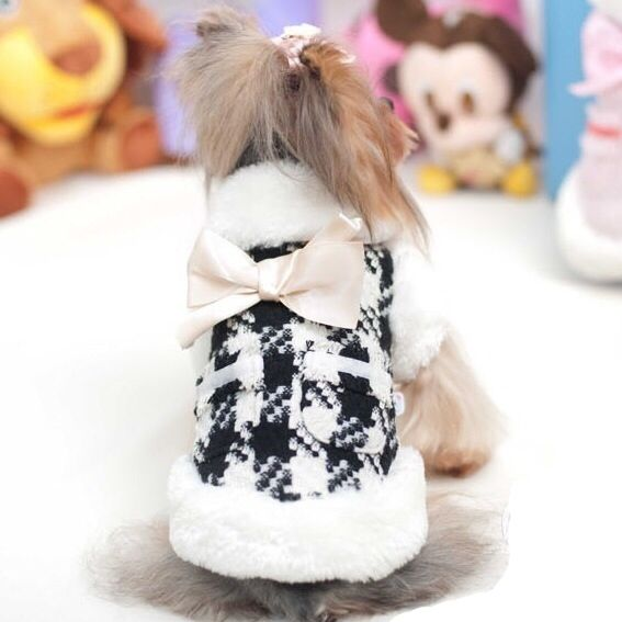 Little Pet Planet - Houndstooth Faux Fur Trimmed Pet Dog Coat With Bow, US$28.99 (http://www.littlepetplanet.com/clothing/coats-jackets/houndstooth-faux-fur-trimmed-pet-dog-coat-with-bow/)