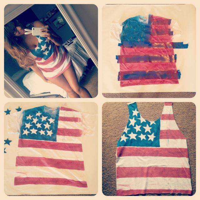 Flag shirt: Ideas, 4Thofjuly, American Flags, Fourth Of July, Tanks Tops, Diy Clothing, 4Th Of July, Diy Shirts, Flags Shirts