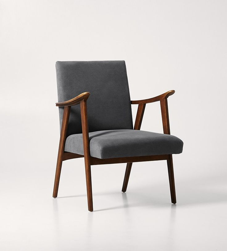 Swoon Editions Armchair, mid-century style in Maritime Grey - £369