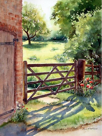 Great trees and brick... Art of Ann Mortimer