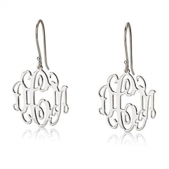 Sterling Silver Monogram Earrings