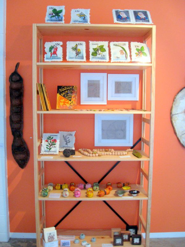 A shelf full of goodies by New Zealand artist .. carver and painter of natures' exquisite objects ... www.lizmcauliffe.com