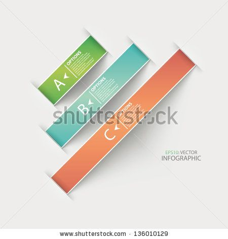 Modern origami ribbon style options banner. Vector illustration. - stock vector